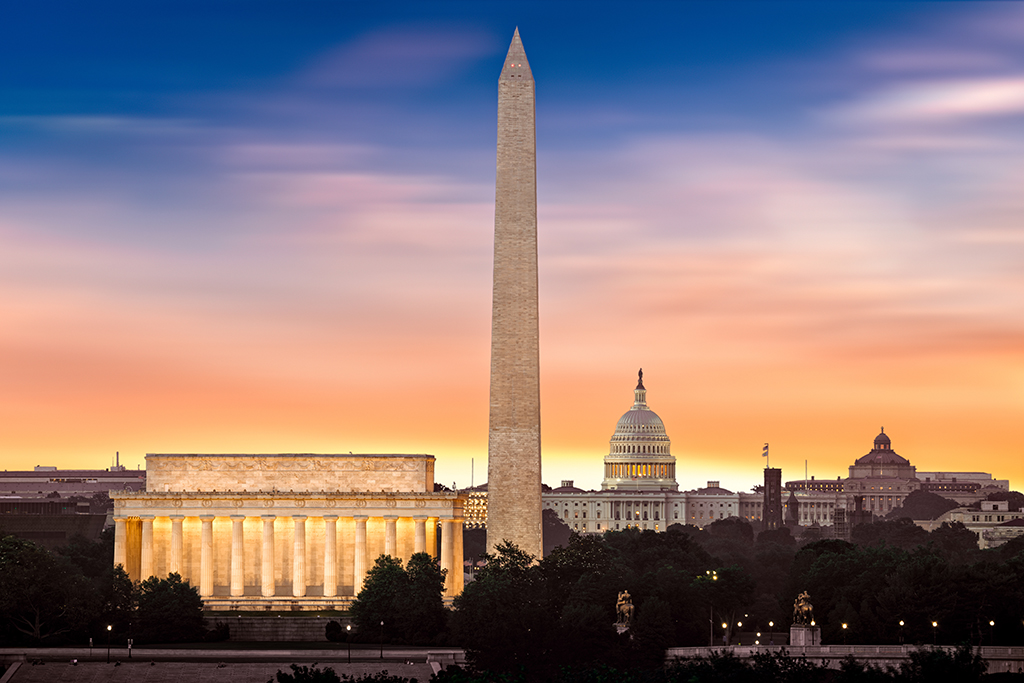 Dawn over Washington - with 3 iconic monuments illuminated at su